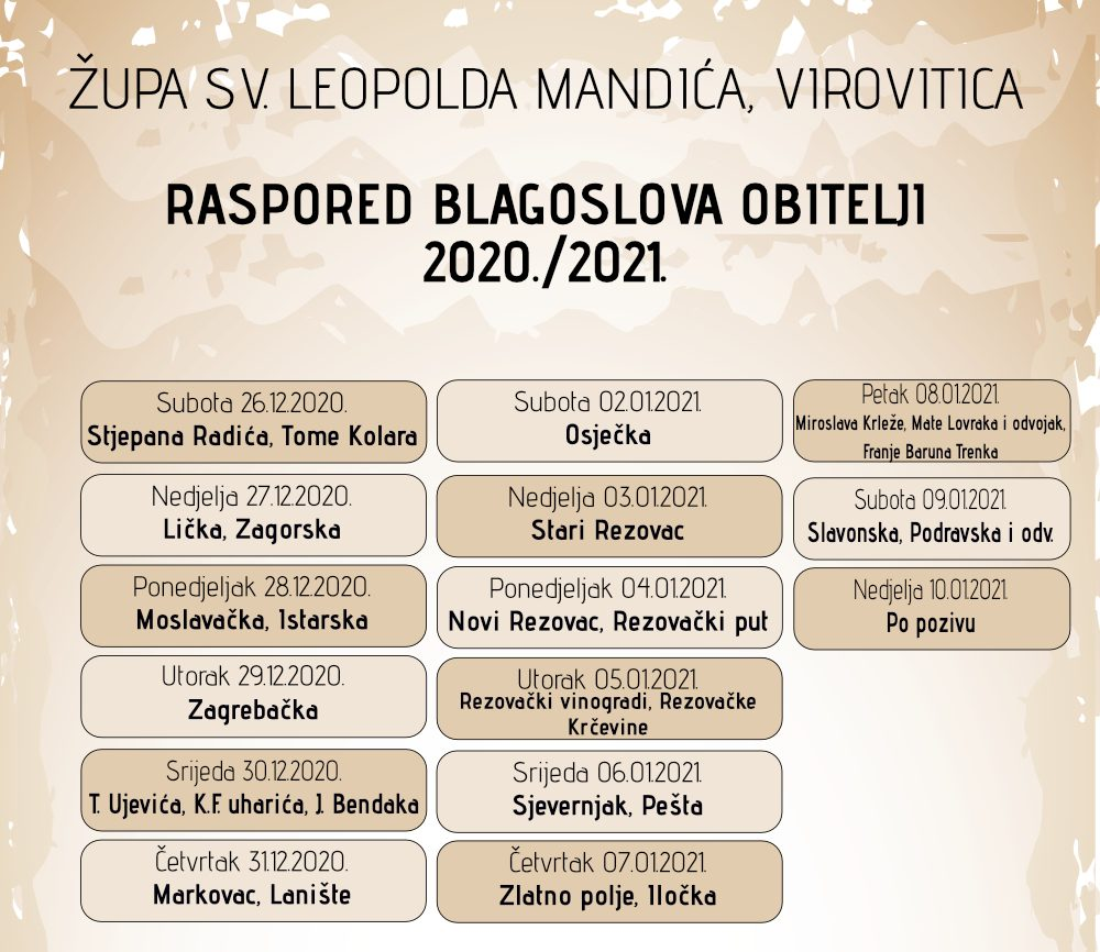RASPORED BLAGOSLOVA OBITELJI 2020./2021. I NAPOMENA